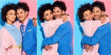 Photo pour Collage de jeune homme et femme afro-américain étreignant, souriant les yeux fermés sur fond bleu et rose - image libre de droit