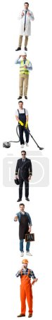 Photo for Collage of handsome man showing different professions isolated on white - Royalty Free Image
