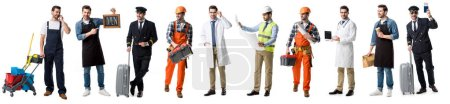 collage of handsome man showing different professions isolated on white