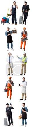 Photo pour Collage de bel homme montrant différentes professions isolées sur blanc - image libre de droit