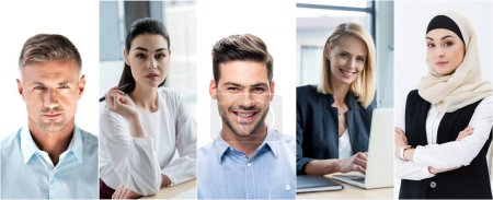 Photo for Collage of portraits handsome men on white background and businesswomen at workplace in office - Royalty Free Image