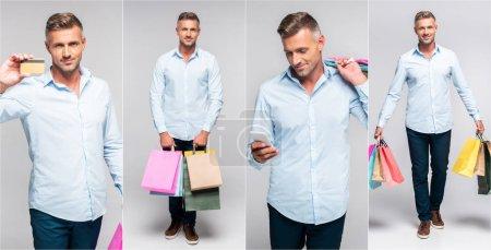 Foto de Collage de hombre de edad media guapo sosteniendo bolsas multicolores, smartphone y tarjetas de crédito en fondo gris - Imagen libre de derechos