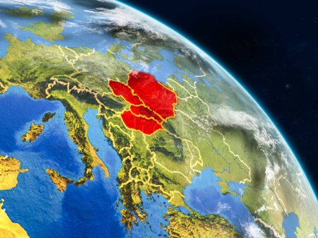 Visegrad Group from space on realistic model of planet Earth with country borders and detailed planet surface and clouds. 3D illustration. Elements of this image furnished by NASA.