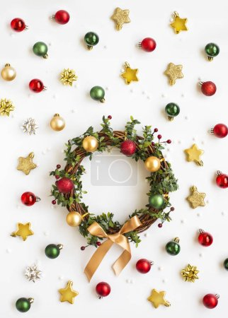 Photo for Flat lay Christmas wreath on white background. - Royalty Free Image
