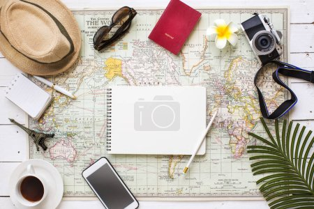 Photo for Flat lay view of travel vacation planing table top shot with related objects still life. Text space image. - Royalty Free Image