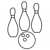 Bowling Ball And Pins Icon Vector Illustration