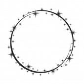 Stardust frame Shiny star circle frame starry glitter stamp an