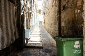 Jerusalem Israel May 28, 2018 View of unknowns people walking in David street in the muslim quarter at the Old city of Jerusalem in the morning
