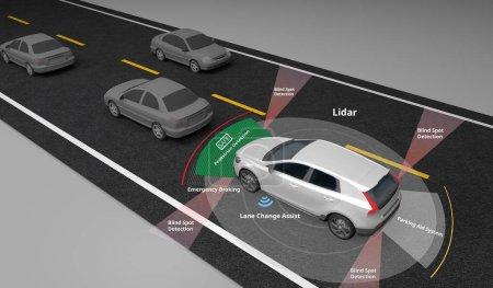 Photo pour Voiture électrique autonome montrant l'utilisation des capteurs Lidar et Safety, circulation à gauche, rendu 3d . - image libre de droit