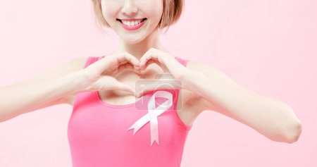 woman showing  heart to you and wearing  pink ribbon with prevention breast cancer concept