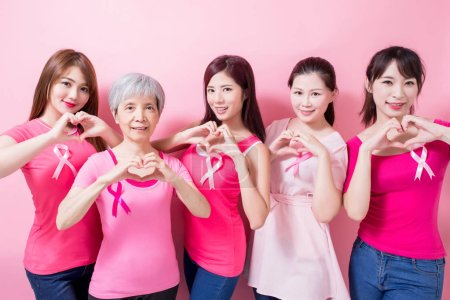 women  showing  heart gesture son the pink background
