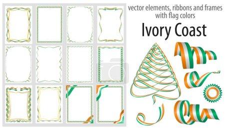 Illustration pour Éléments vectoriels, rubans et cadres aux couleurs du drapeau Côte d'Ivoire, modèle pour votre certificat et diplôme . - image libre de droit
