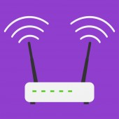 Flat design icons Internet wifi router on violet background