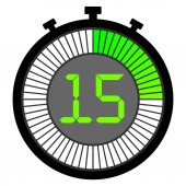 electronic stopwatch with a gradient dial starting with green 15 seconds
