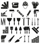 Black and white 30 construction silhouette elements