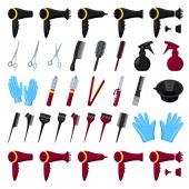 35 colorful cartoon hairdresser tools