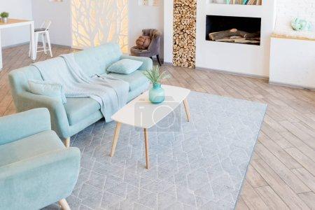Photo pour Design intérieur de salon de luxe élégant en lumière du jour douce avec des meubles classiques élégants - image libre de droit