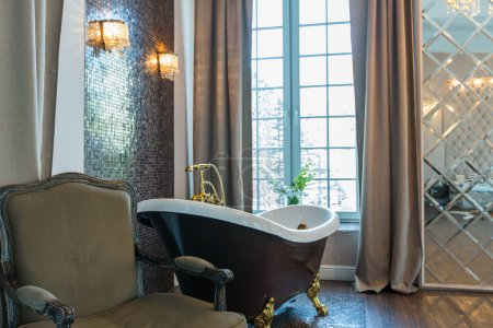 Stylish luxury bathroom interior design with elegant classic furniture