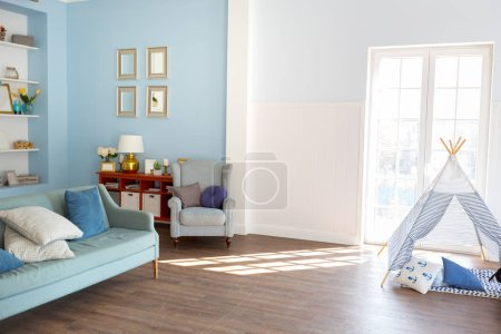 Photo for Modern baby bedroom interior design with light furniture - Royalty Free Image
