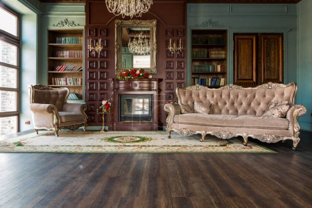 old fashioned library interior with vintage furniture