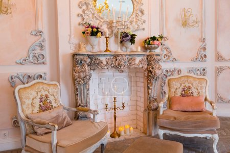 vintage baby bedroom interior design with light furniture and fireplace
