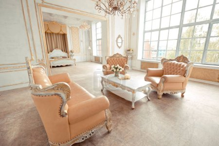Photo for Luxury rich interior design with elegant vintage furniture in pastel colors - Royalty Free Image