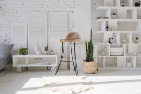 Photo for Modern interior design of studio apartment with white furniture - Royalty Free Image