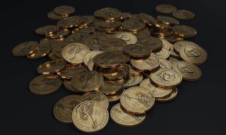 Photo pour Piles of shiny gold coins with dollar sign. 3D illustration. - image libre de droit
