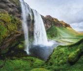 Seljalandfoss waterfall. Beautiful summer sunny day Iceland Europe