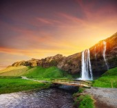 Seljalandfoss waterfall. Beautiful summer sunny day. Iceland Europe