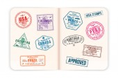Realistic passport pages with visa stamps Opened foreign passport with custom visa stamps Travel concept