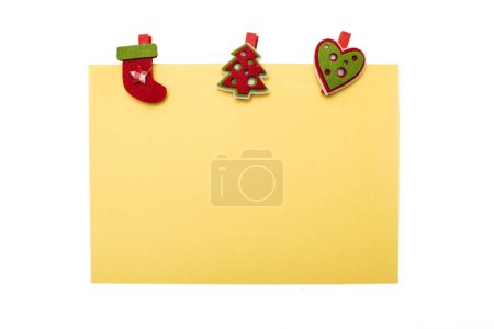 Photo for Yellow Christmas holiday card isolated on white. Greeting poster. Copy space - Royalty Free Image