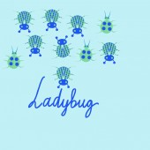 inscription and pattern with ladybugs vector illustration