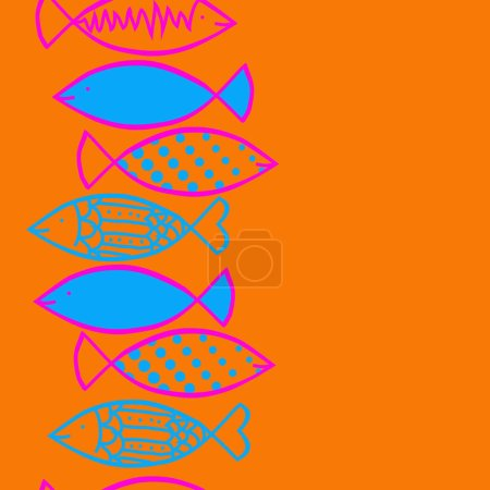 Seamless set of fishes on background...