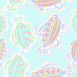 Seamless pattern of abstract simple fishes...