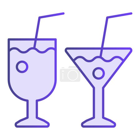 Illustration for Two ocktail glasses flat icon. Different beverages violet icons in trendy flat style. Drinks gradient style design, designed for web and app. Eps 10 - Royalty Free Image