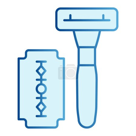 Illustration for Razor and slice blade flat icon. Disposable blades blue icons in trendy flat style. Shaving blade gradient style design, designed for web and app. Eps 10 - Royalty Free Image