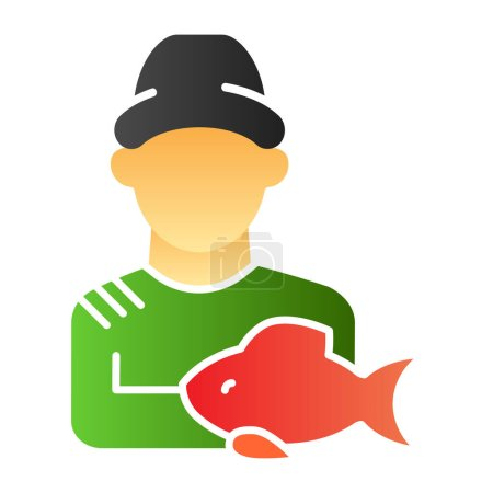 Illustration for Fisher and the catch flat icon. Angler color icons in trendy flat style. Fisherman with fish gradient style design, designed for web and app. Eps 10 - Royalty Free Image