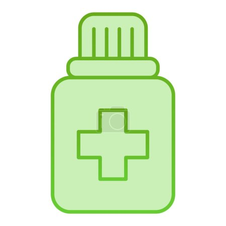 Illustration for Tablets in plastic jar flat icon. Bottle with drug green icons in trendy flat style. Medicament gradient style design, designed for web and app. Eps 10 - Royalty Free Image