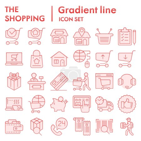 Illustration for Shopping online flat icon set, internet store symbols collection, vector sketches, logo illustrations, commercial signs pink gradient pictograms package isolated on white background, eps 10 - Royalty Free Image