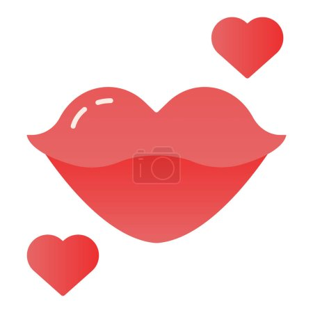 Illustration for Lips flat icon. Kiss with heart color icons in trendy flat style. Love gradient style design, designed for web and app. Eps 10 - Royalty Free Image