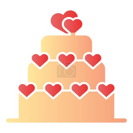 Illustration for Love cake flat icon. Valentine cake color icons in trendy flat style. Layered cake with heart gradient style design, designed for web and app. Eps 10 - Royalty Free Image