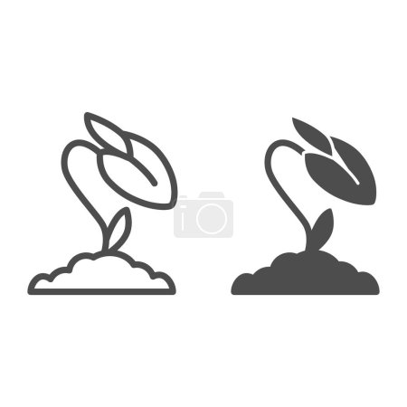 Illustration for Flower bud line and solid icon, floral concept, rose closed blossoms sign on white background, rose flower bud icon in outline style for mobile concept and web design. Vector graphics - Royalty Free Image