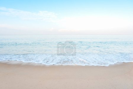 Beautiful white clouds on blue sky over calm sea background. Tranquil summer sea harmony of calm water surface. Sunny sky and calm blue ocean. Vibrant sea with clouds on horizon. Nature and outdoor.