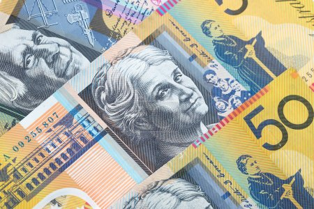 Closeup fifty Australian dollar banknotes as money and currency background.