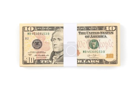 Stack of ten US dollar bills isolated on white background. Dollar money banknotes.