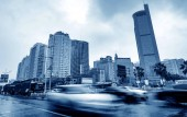 The city's tall buildings and high-speed cars, the urban landscape of Nanning, China.