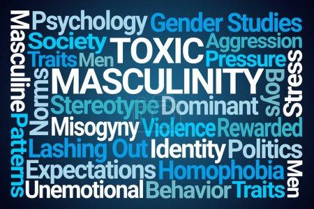 Photo pour Nuage de mots de masculinité toxique sur fond bleu - image libre de droit