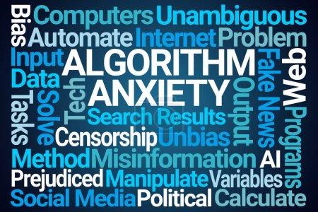 Photo pour Nuage de mot algorithme anxiété sur fond bleu - image libre de droit