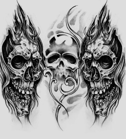 Foto de Boceto del arte del tatuaje, Ilustración a mano - Imagen libre de derechos